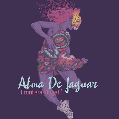 """drawing of person dancing in native clothing and jagur mask. Music cover for """"Alma De Jaguar."""""""