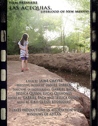 """female child walking by a ditch. Film cover for """"Las Acequias."""""""