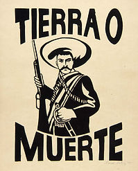 "Drawing of hispanic man wth a sobrero hat holding a shot gun. Cover Image for ""Tierra O Muerte"""