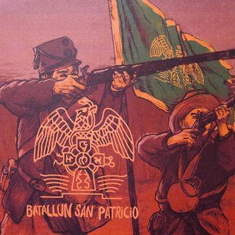 San Patricio Battilion cover. drawing of men at war next to Irish flag