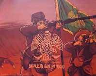 "Drawing of a man aiming shotgun next to Irish flag. Music cover for ""Batallo San Patricio."""