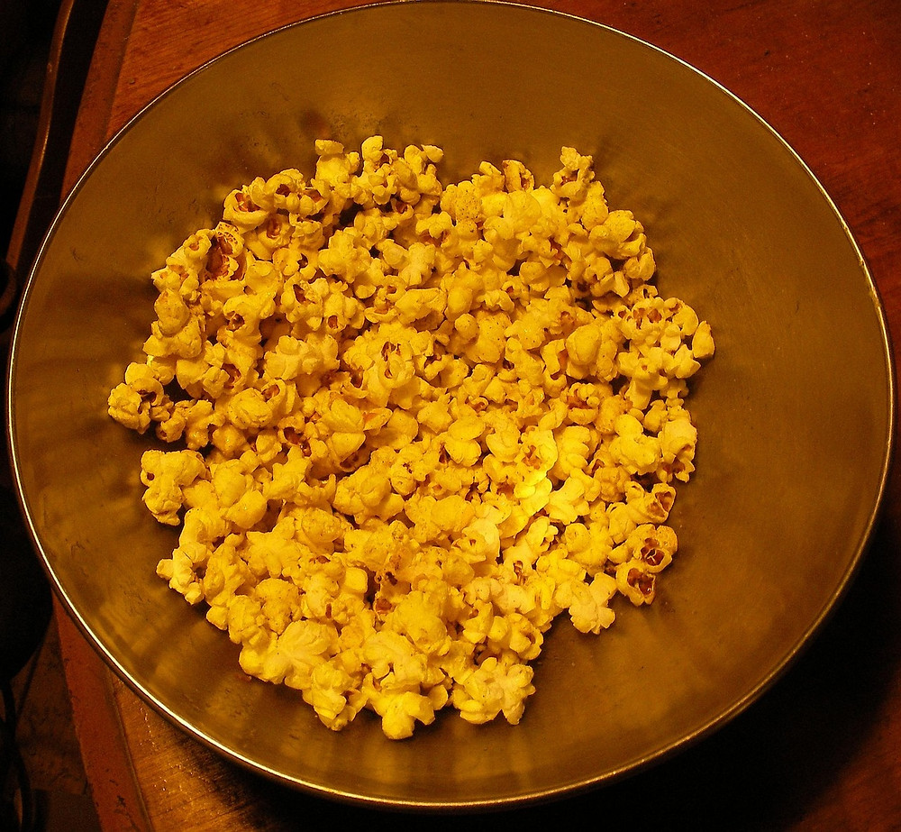 Popcorn tossed in turmeric
