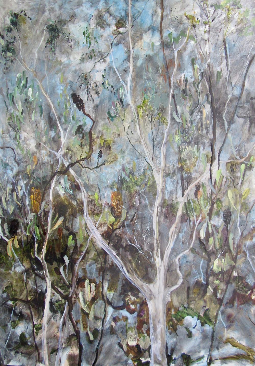 A Walk Through the Trees, Oil on Board, 140 x 100cm