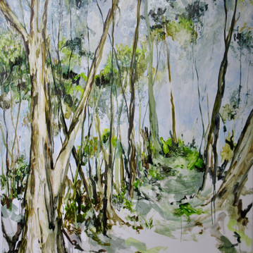 Path through the Trees, Oil on Board 140cm x 100cm