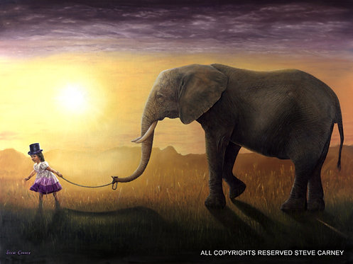 """Elephant Whisper"" (print) painting #150"