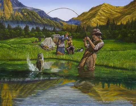 """Gold Mountian Fishing""(print) painting #135"