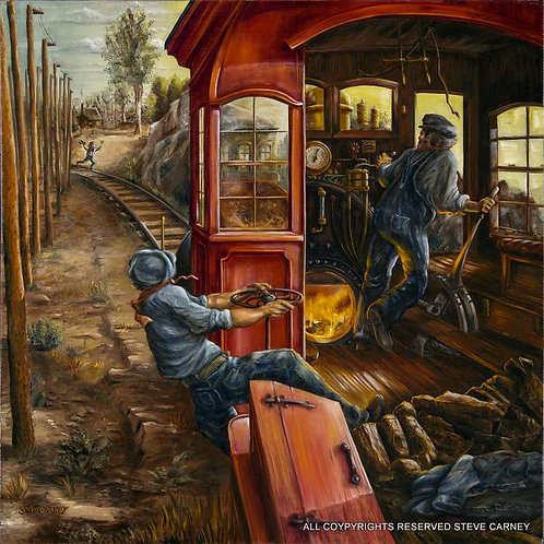 """Trouble on the Tracks"" (print) painting #109"