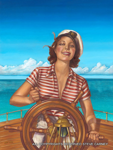 """Lady at the Helm"" (print)  painting  # 116"