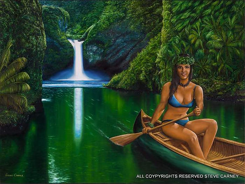 """Paddling in Paradise""   (print)  painting  #  133"