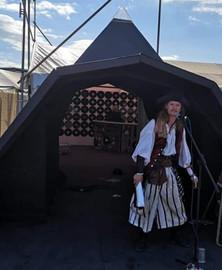 Perfoming on the mini Pyramid  Stage Glastonbur Arts Festival 2019