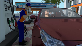 Automated operations in a petrol pump described through animation.