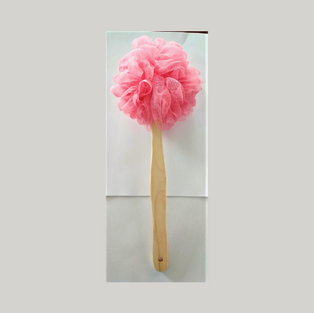 PE Loofah with Wooden Handle