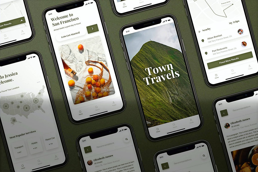 Smart phones displaying webpages of a travel blog site.