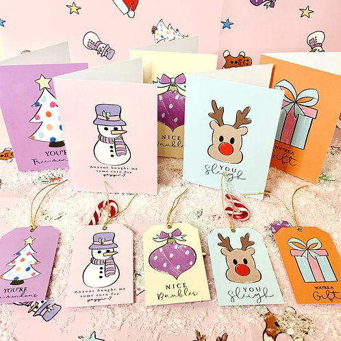 5 Cards, 5 Gift Tags & Wrapping