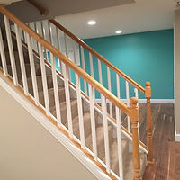 Double railing finished basement staircase