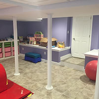 Finished basement kids playroom