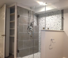 Tiled shower in Finished basement