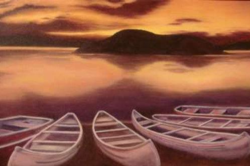Barques au soleil couchant