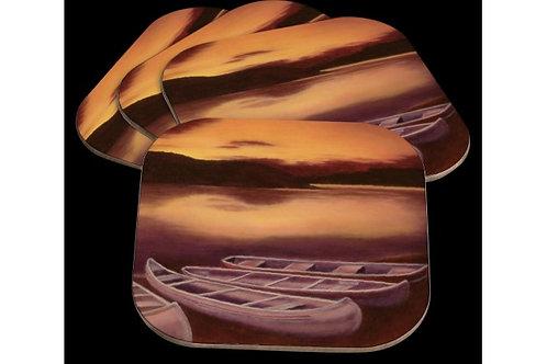 Sous-verres Barques au soleil couchant