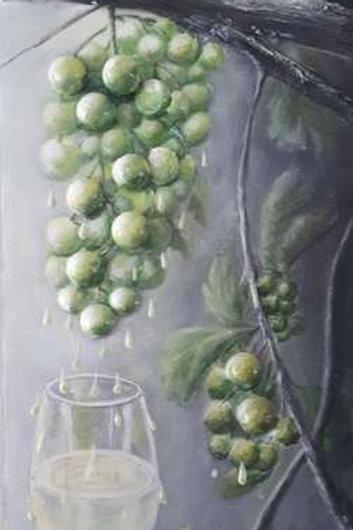Les raisins et le vin blanc