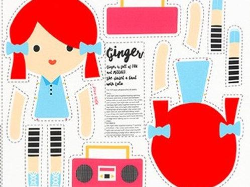 muñeca recortable Ginger
