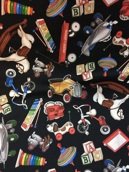 juguetes  100% algodon 110cm de ancho, 16€ m, puedes pedir por múltiplos de 25cm