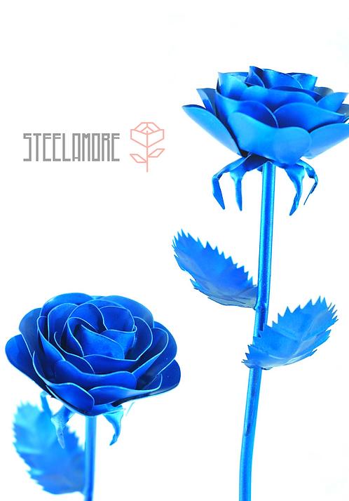 Hochwertige Edelstahlrose Blau Metalic