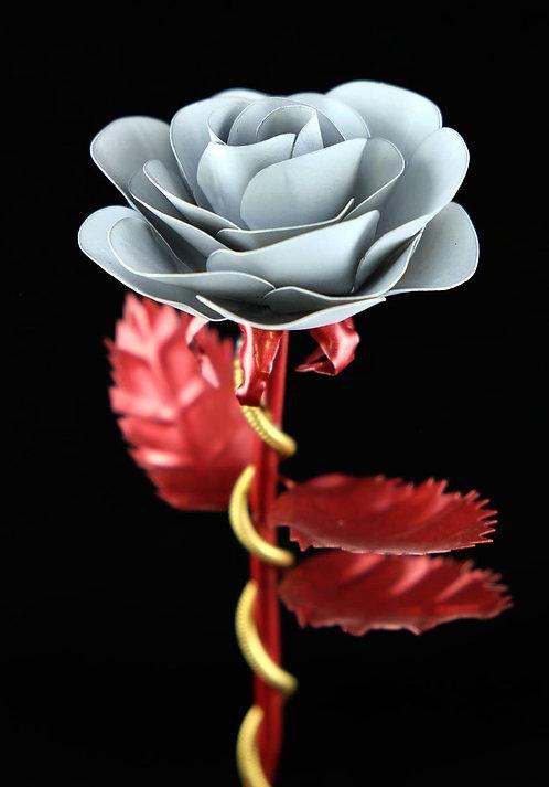 Premium Edelstahlrose Rot Weiß