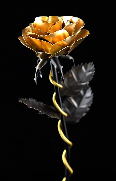 Premium Edelstahlrose Schwarz Gold
