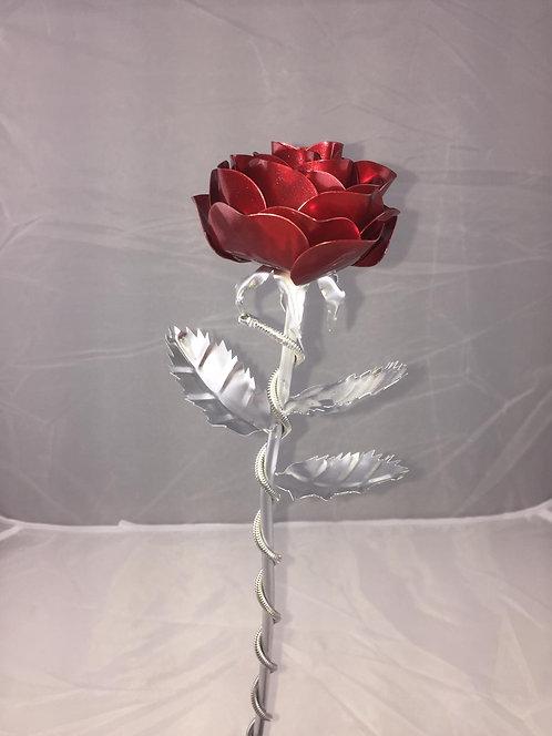 Premium Edelstahlrose Rot Silber
