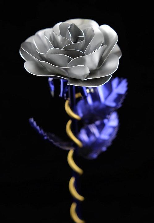 Premium Edelstahlrose Violett Weiß