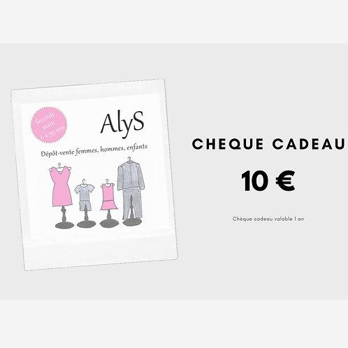 Chèque cadeau 10 € - valable 1 an