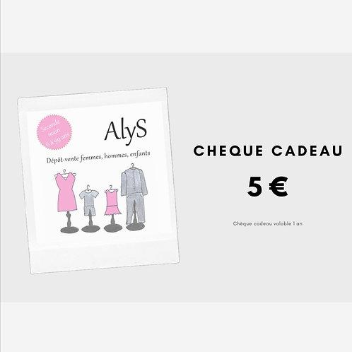Chèque cadeau 5 € - valable 1 an