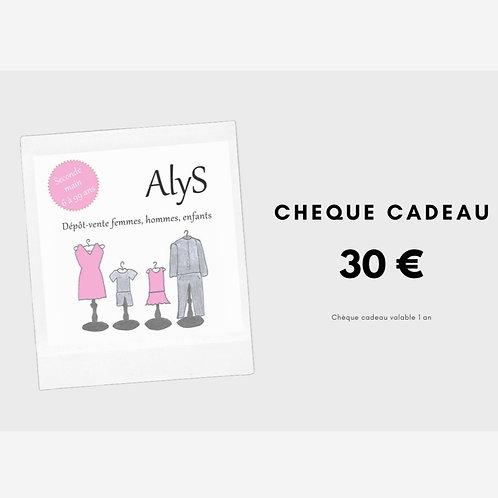 Chèque cadeau 30 € - valable 1 an