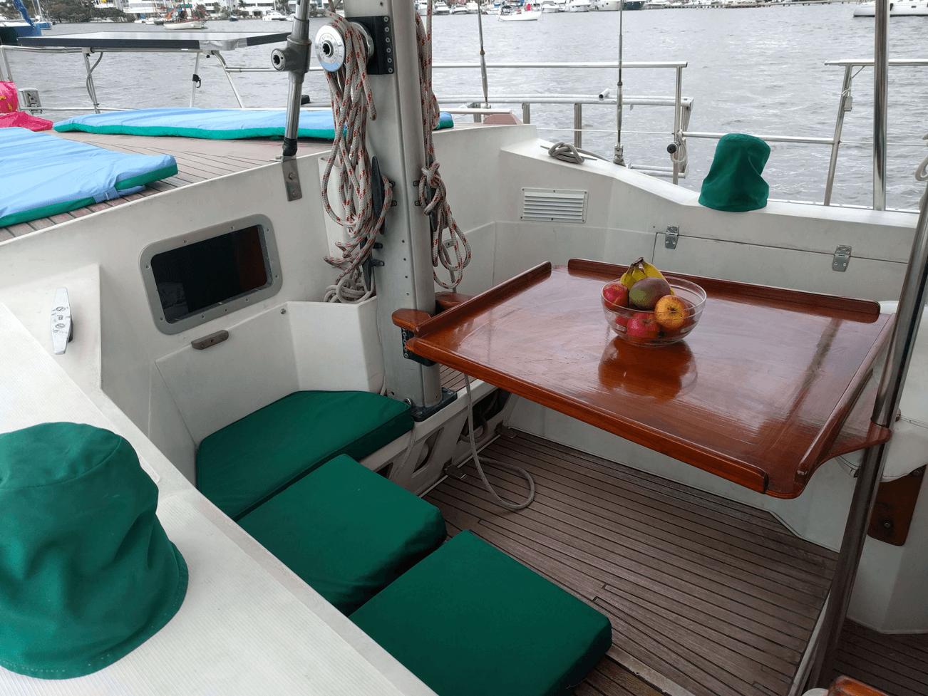Sailboat dining room Amel Maramu46 Panama