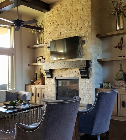 Classic Modern with Stone Fireplace and Crossing Wood Beams