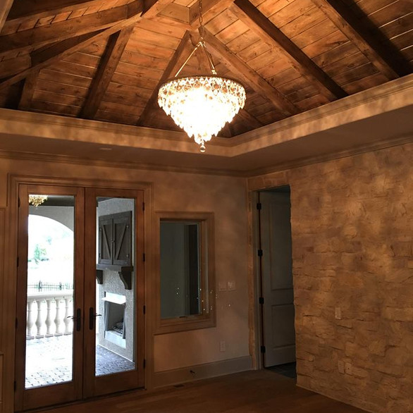 Wood Ceiling in Master Bed