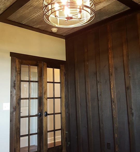 Men's Office with Metal Ceiling