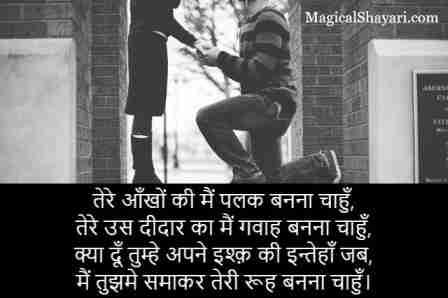 pyar wali shayari hindi tere aankho ki main palak banna chahun