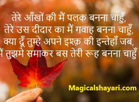 Tere Aankhon Ki Main Palak Banna Chahun, Pyar Bhari Shayari