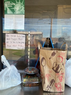 Pick up window for meals and groceries