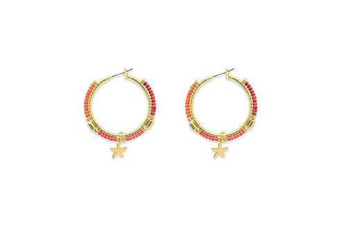 Nanche Orange Beaded Hoop Earrings