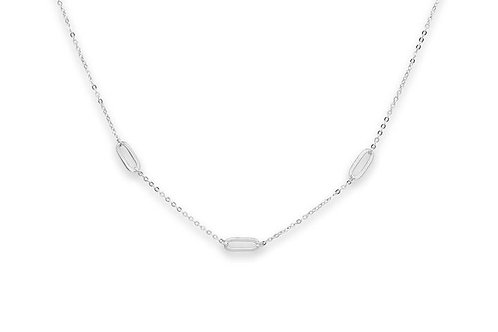 Midori Silver Oval Link Necklace