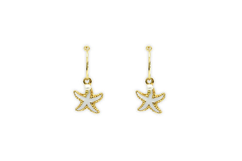 CLEMENTINE WHITE STAR FISH CHARM EARRINGS