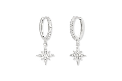 COHAN CZ HOOP STAR EARRINGS