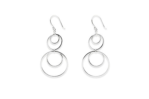 SIM STERLING SILVER MULTI CIRCLE EARRINGS