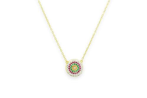 Fizz Gold CZ Disc Necklace