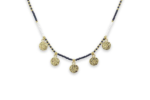 Dinlas Navy Beaded Choker Necklace with Gold Charms