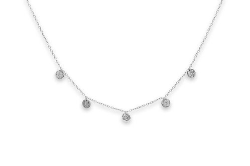 Sauterns Silver Battered Disc Necklace