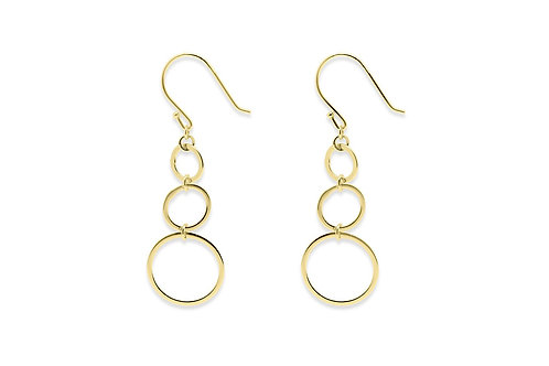 GOLD 3 CIRCLE EARRINGS